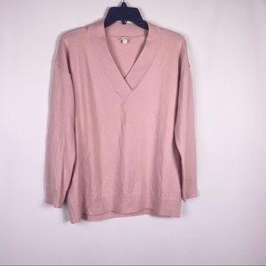 Gap Brooklyn V neck blush pink merino wool sweater